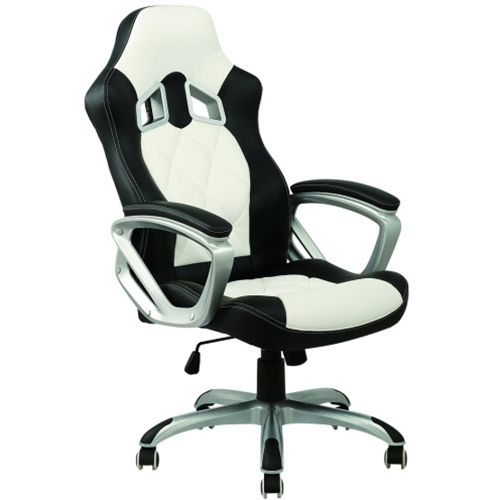 racing office chair pu leather black white