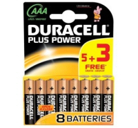 Duracell Plus AAA MN2400 LR03 Batteries (8 Pack)