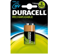 Duracell Rechargeable 9V PP3 6HR61 HR22 170mAh NiMH Battery (1 Pack)
