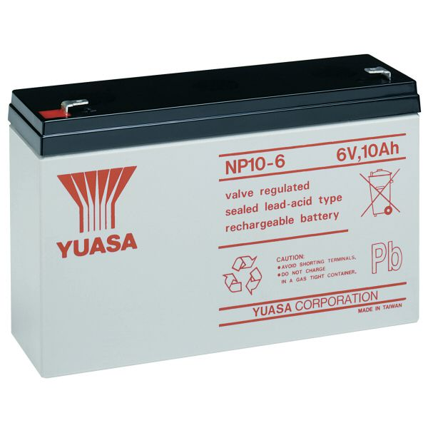 np10 6 yuasa 6v 10ah rechargeable battery. Black Bedroom Furniture Sets. Home Design Ideas