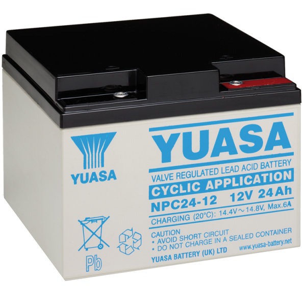 npc24 12 yuasa rechargeable battery 12v 24ah. Black Bedroom Furniture Sets. Home Design Ideas